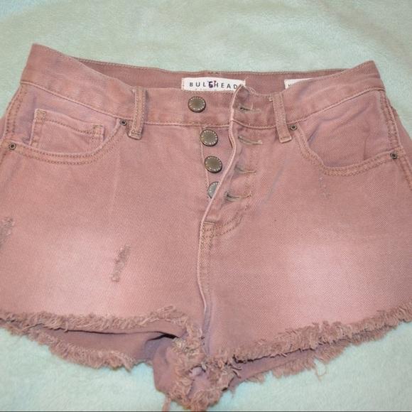 Bullhead Pants - Bull head light salmon button down shorts